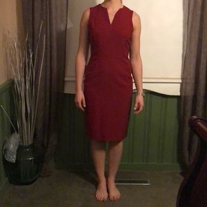 Knee length red dress
